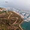 Sardinia, Italy. Aerial view of Costa Smeralda. Touristic harbour of Portisco.