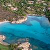 Sardinia, Italy. Aerial view of Costa Smeralda. Piccolo Romazzio Beach.