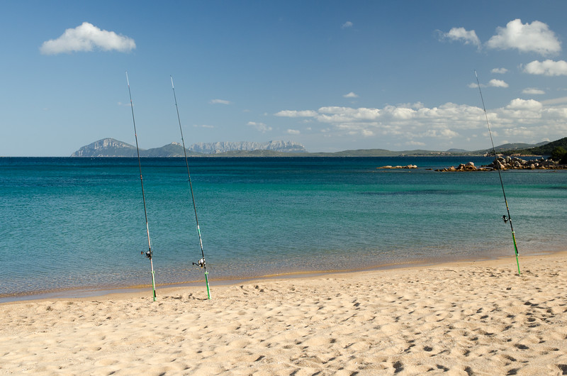 Costa Smeralda: fishing at Cala Liscia Ruja beach.