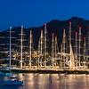 La marina di Porto Cervo con l'incredibile sfilata delle magnifiche barche da regata impegnate nella Perini Navi Cup.