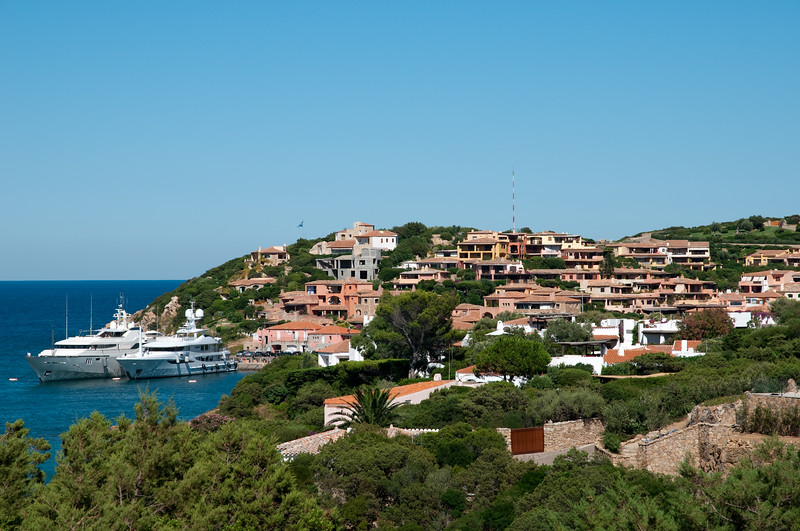 Sardinia, Italy: view of Porto Cervo, with yachts at the old harbour.