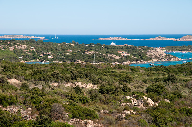 Sardinia, Italy: Costa Smeralda at summer. Yachts at Pevero bay.