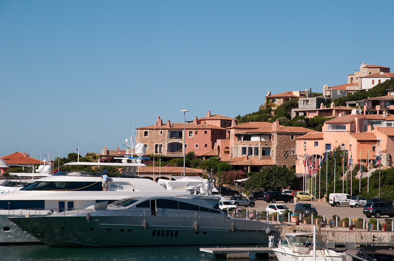 Sardinia, Italy: Porto Cervo, the famous touristic location. The old harbour at summer.