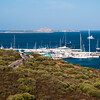 Costa Smeralda: barche ormeggiate a Portisco. Sullo sfondo le isole di Mortorio e Soffi.