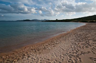 Sardinia, Italy: evening on the beach in Costa Smeralda. - Sardegna, Costa Smeralda, spiaggia Li 'ltriceddhi al tramonto