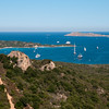 Sardinia, Italy: Costa Smeralda at summer. Yachts at Pevero bay.