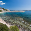 Sardinia, Cala Gonone: central beach and the touristic harbour.