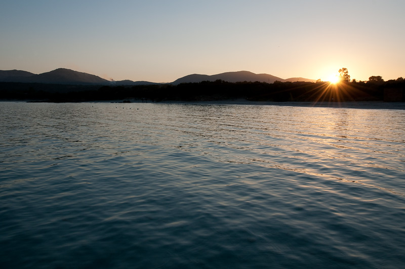 Sardinia, Italy: Porto Istana beach  at sunset. - Sardegna, La spiaggia di Porto Istana, nei pressi di Olbia, al tramonto.