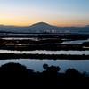 Olbia, veduta del golfo al tramonto in inverno da Lido del Sole, a sud della citta'.