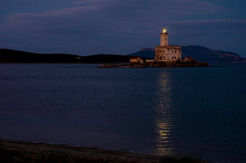 Sardinia, Italy: Lightouse of Olbia's harbour at sunset