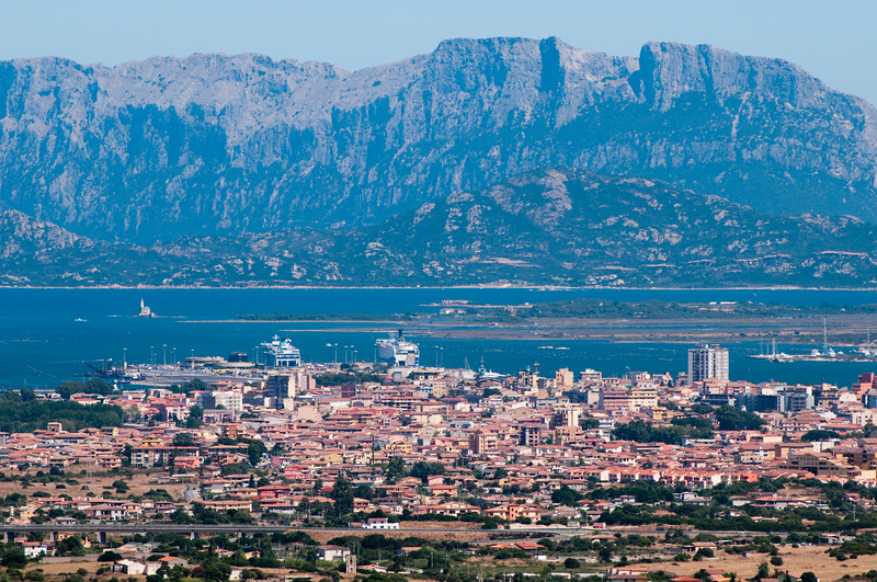 Sardinia, Italy: city of Olbia, panoramic view from Monte Pino Mountain.
