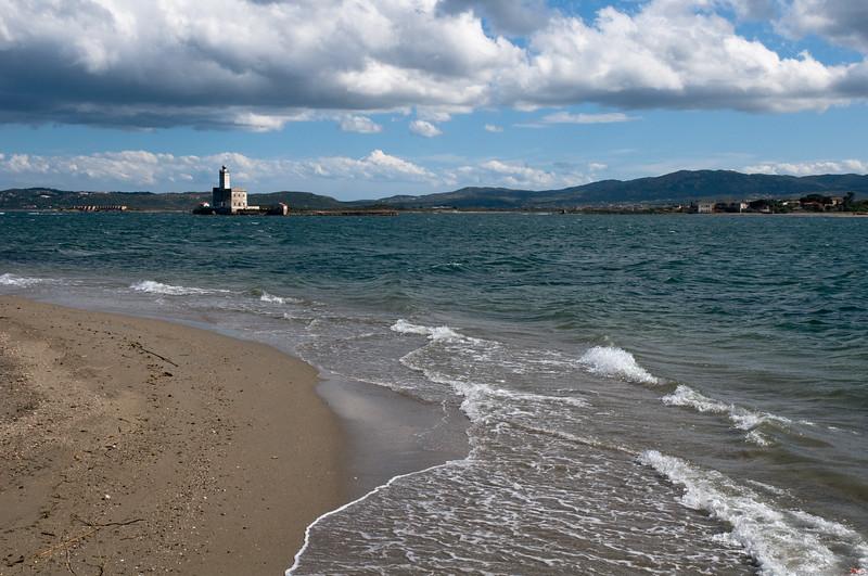 Sardinia, Italy: beach and lighthouse in the Gulf of Olbia