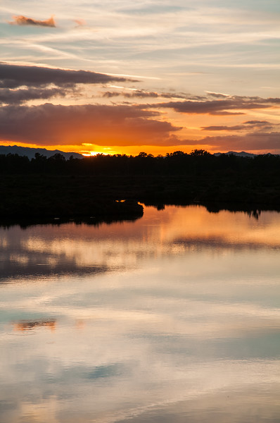 Olbia, tramonto in inverno a Lido del Sole, a sud della citta'.