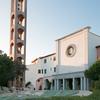 Sardinia, Italy: Porto Rotondo, the church and the wooden bell tower of San Lorenzo. - Sardegna, Porto Rotondo: Chiesa di San Lorenzo con il caratteristico campanile in legno