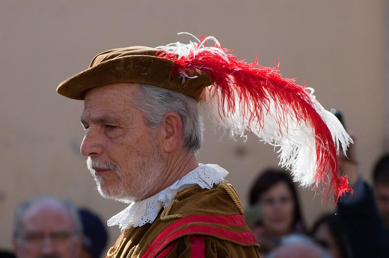Sardinia, Italy: Oristano, Sartiglia festival. The Herald read the announcement that give start at the event.