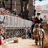 "Oristano (Italy), 21.02.2012 - Sartiglia festival (Gremio dei Falegnami), the most important carnival of Sardinia. A horseman try to pick the star during the ""Corsa alla stella"" race."