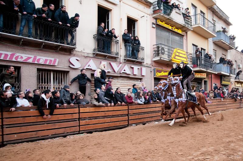"""Oristano (Italy), 21.02.2012 - Sartiglia festival (Gremio dei Falegnami), the most important carnival of Sardinia. The """"pariglie"""" race."""