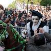 Oristano (Italy), 21.02.2012 - Sartiglia festival (Gremio dei Falegnami), the most important carnival of Sardinia. A horseman is being rewarded.