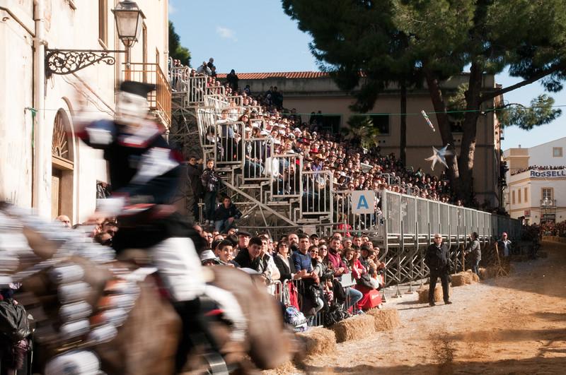 """Oristano (Italy), 21.02.2012 - Sartiglia festival (Gremio dei Falegnami), the most important carnival of Sardinia. A moment of the """"Corsa alla Stella"""" race."""