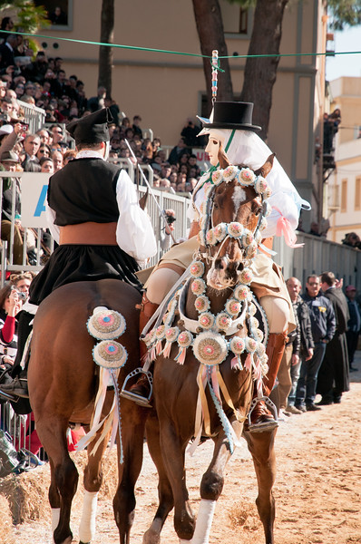 """Oristano (Italy), 21.02.2012 - Sartiglia festival (Gremio dei Falegnami), the most important carnival of Sardinia.  The """"Su Componidori"""", leader of the show and his second mate """"su segundu""""."""