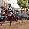 "Oristano (Italy), 21.02.2012 - Sartiglia festival (Gremio dei Falegnami), the most important carnival of Sardinia. A moment of the ""Corsa alla Stella"" race. The horseman gets the star."