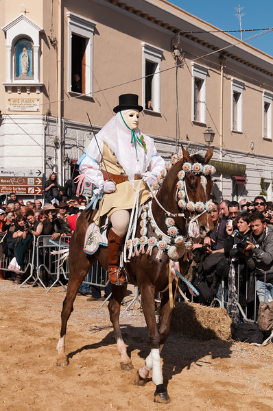 """Oristano (Italy), 21.02.2012 - Sartiglia festival (Gremio dei Falegnami), the most important carnival of Sardinia.  The """"Su Componidori"""", leader of the show."""
