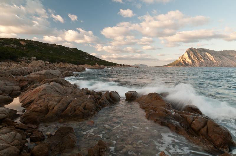 Sunset at Cala Ginepro bay, near San Teodoro, north Sardinia.