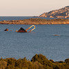 The wreck of a ship near Tavolara island, north-eastern coast of Sardinia.