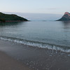 Sardinia, Italy: Porto San Paolo, Porto Taverna beach and Tavolara island at sunset.