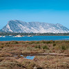 Sardinia, Italy: Pond of San Teodoro. Tavolara island on background.