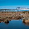 Sardinia, Italy: Pond of San Teodoro. Tavolara island on background.