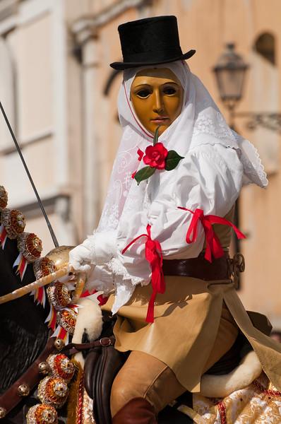 Su Componidori, head of the Sartiglia Festival, the most important traditional carnival of Sardinia / Su Componidori, personaggio principale della Sartiglia di Oristano.