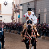 "Sardinia, Italy: Oristano, Sartiglia festival. ""Su Componidori"", leader of the traditional horse race take the star with the ""su stoccu"", a wooden lance, at the end of the race. Su Componidori infila la stella con ""su stoccu"", la lancia in legno."
