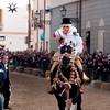"""Sardinia, Italy: Oristano, Sartiglia festival. """"Su Componidori"""", leader of the traditional horse race take the star with the """"su stoccu"""", a wooden lance, at the end of the race. Su Componidori infila la stella con """"su stoccu"""", la lancia in legno."""