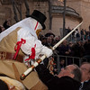 "Sardinia, Italy: Oristano, Sartiglia festival. Palio della stella horse race. The authorities acclaims the ""Su Componidori"" after he took the star. Le autorita' salutano Su Componidori dopo aver preso la stella."