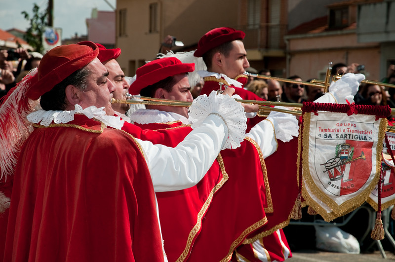 Sardinia, Italy: Oristano, Sartiglia festival. Trumpeters and drummers.  - trombettieri e i tamburini che accompagnano tutta la manifestazione.