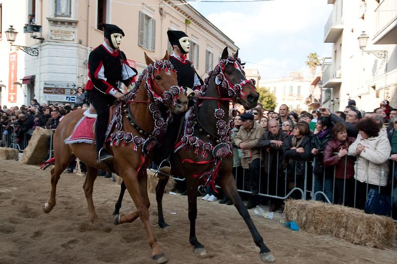 Sardinia, Italy: Oristano, Sartiglia festival. Palio della stella horse race.