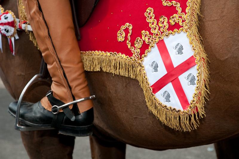 Sardinia, Italy: Oristano, Sartiglia festival. Detail of a horse decoration. Sartiglia di Oristano: i cavalieri e i loro bellissimi costumi.
