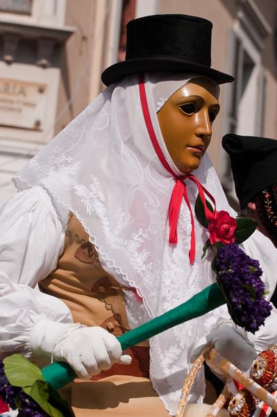"""Sardinia, Italy: Oristano, Sartiglia festival. Palio della stella horse race. The  """"Su Componidori""""."""
