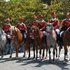 Sardinia, Italy: Cavalcata Sarda festival, horsemen wearing a traditional sardinian dress.