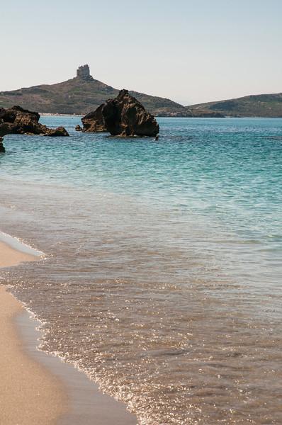 Penisola del Sinis: la spiaggia e la torre di San Giovanni sullo sfondo.