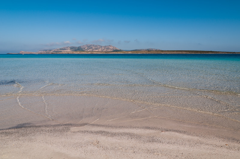 Sardinia, Italy: Stintino, La Pelosa Beach. Asinara island  on background.
