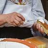 Oliena (NU), Italy, 15.09.2013. Cortes Apertas. Preparazione di dolci tipici sardi: Su Pistoccu di Oliena.