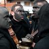 Sardinia, Italy: traditional carnival masks - Maschere tradizionali della Sardegna: Thurpos di Orotelli mentre cantano a tenore.