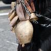 Sardinia, Italy: traditional carnival masks - Maschere tradizionali della Sardegna: i campanacci sono parte integrante delle maschere di molti paesi di tutta l'isola.