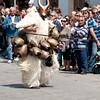 "Sardinia, Italy: Sassari, traditional mask ""Boes e Merdules"" from Ottana during the Cavalcata Sarda festival - Cavalcata Sarda: sfilata dei costumi tradizionali della Sardegna. Boes e Merdules di Ottana."