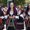 Sardinia, Italy: Sassari, Cavalcata Sarda Festival. Womens wearing a traditional sardinian dress. Cavalcata Sarda: sfilata dei costumi tradizionali della Sardegna