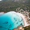 Sardinia, Italy. Aerial view of Costa Smeralda. Grande pevero Beach.
