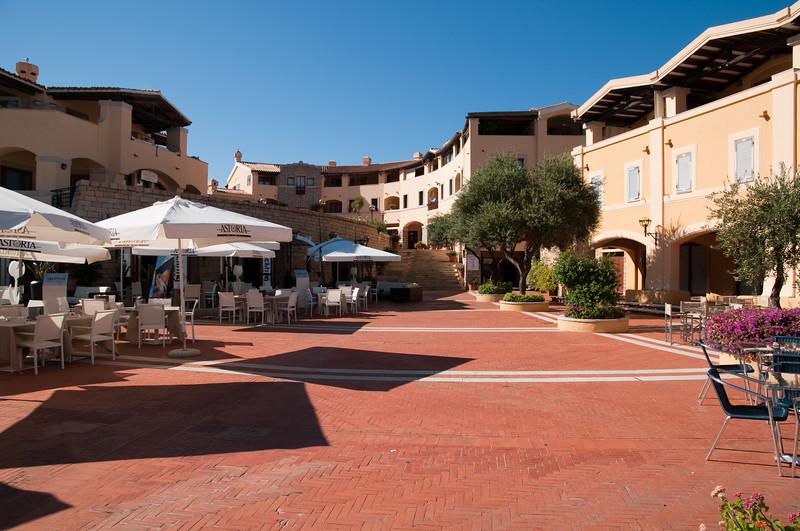Sardinia, Italy:  boutiques and restaurants in Porto Cervo Marina at summer.