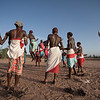 Samburu dance on the banks of a dry riverbed in Samburu northern Kenya